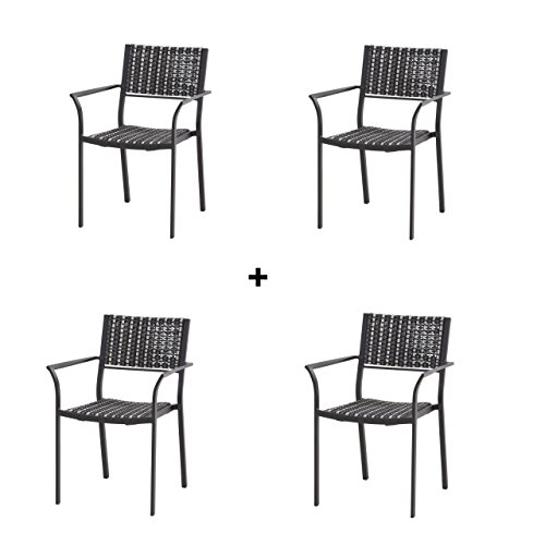 4Seasons Outdoor 4-teiliges Set Piazza Stapelstühle Black Pepper 4x213123