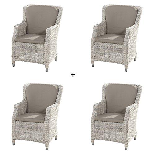 4seasons outdoor 4er set brighton dining sessel inkl kissen polyrattan provance skandinavische. Black Bedroom Furniture Sets. Home Design Ideas