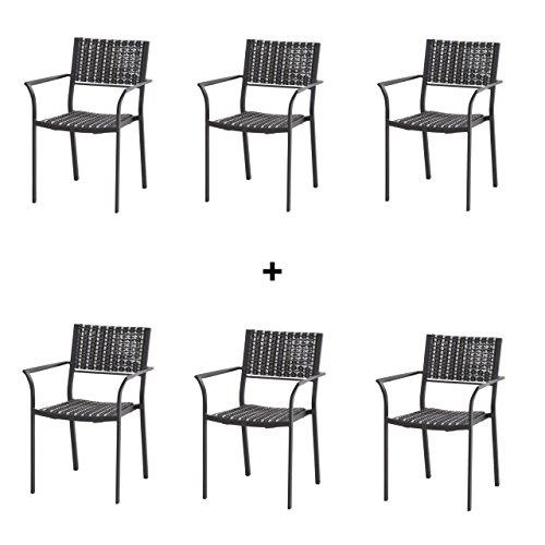 4Seasons Outdoor 6-teiliges Set Piazza Stapelstühle Black Pepper 6x213123