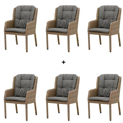 4seasons outdoor amalfi 6er set dining sessel polyrattan pure inkl kissen 213146. Black Bedroom Furniture Sets. Home Design Ideas