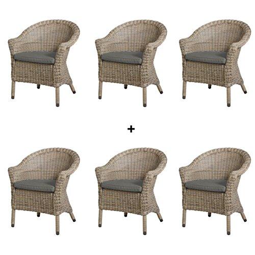4seasons outdoor chester 6er set dining sessel polyrattan pure inkl kissen skandinavische m bel. Black Bedroom Furniture Sets. Home Design Ideas