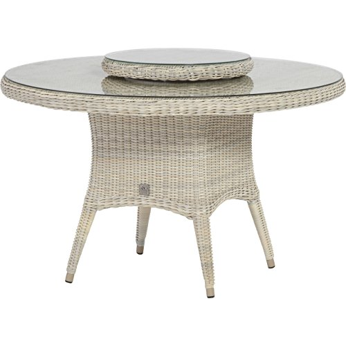 4seasons outdoor victoria dining tisch 130cm mit drehteller lazysusan 55cm skandinavische. Black Bedroom Furniture Sets. Home Design Ideas