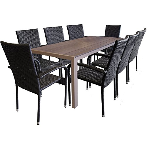 9tlg. Garnitur Aluminium Polywood 205x90cm + Poly Rattan Gartenstuhl stapelbar Gartengarnitur Terrassenmöbel Sitzgruppe Sitzgarnitur