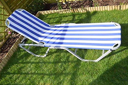Alu-Sonnenliege 6-fach verstellbar 190x60x30cm Sun Lounger Aluminium Farbe Blau/Weiß gestreift