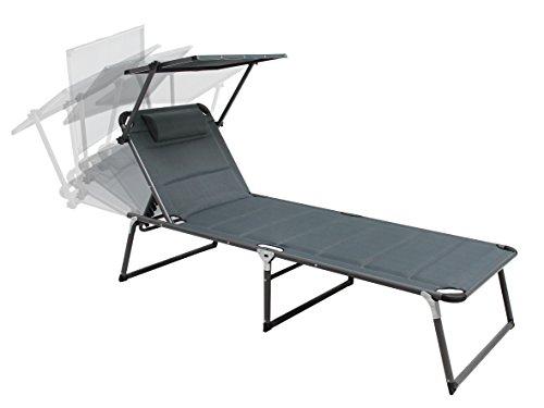 Aluminium Sonnenliege Gartenliege XXL Alu Liege mit Dach Dreibeinliege Textilene grau anthrazit 200x70 cm bis 150kg Quick Dry Foam SSV