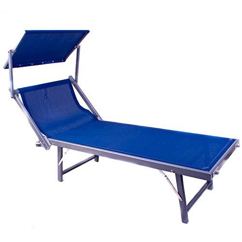Bequeme Sonnenliege mit Klapp-Dach | Saunaliege Strandliege Klappliege Garten-Liege aus Alu Relaxliege Wellnessliege Ruheliege Sunlounger Liegestuhl Gartenmöbel