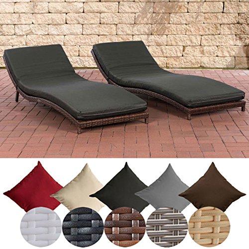 CLP 2 x Poly-Rattan Sonnenliegen Set PESARO mit Auflage, Aluminium-Gestell, Polsterstärke 5,5 cm, ergonomische Wellnessliegen,