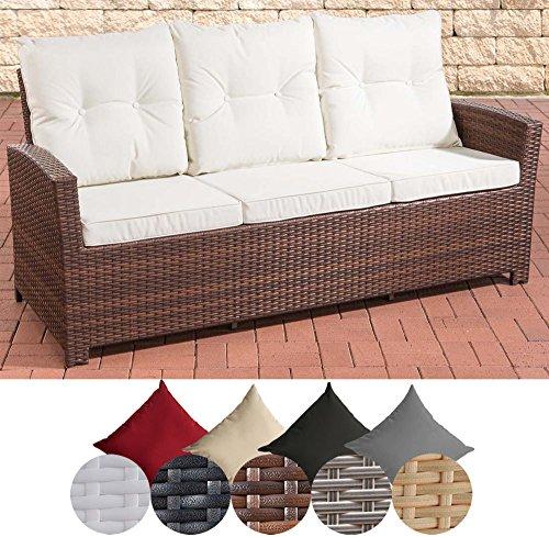 CLP Poly-Rattan 3er Sofa FISOLO, Aluminium Gestell - 100% rostfrei - mit Kissen & Auflagen, Breite ca. 180 cm, Sitzhöhe ca. 50 cm