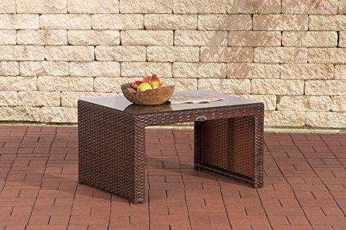 CLP Poly-Rattan Garten Lounge-Tisch CASABLANCA ca 85 x 60 cm, Höhe: 50 cm, ALU-Gestell, Glasplatte 5 mm Sicherheitsglas