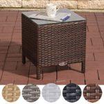 CLP Polyrattan Beistelltisch VILATO mit Aluminiumgestell und Glasplatte   Wetterfester Gartentisch aus UV-beständigem Kunststoffgeflecht   In verschiedenen Farben erhältlich