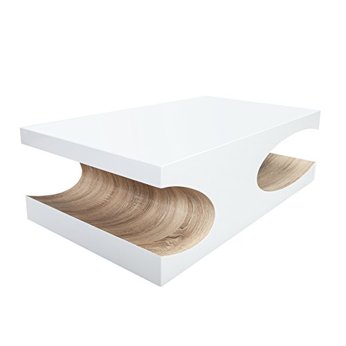 edler couchtisch cube 120cm hochglanz wei holztisch wohnzimmertisch tisch sonoma eiche. Black Bedroom Furniture Sets. Home Design Ideas