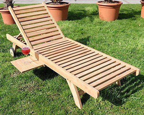 Hochwertige TEAK Sonnenliege Gartenliege Strandliege Liegestuhl Holzliege Holz sehr robust Modell: COZY von AS-S
