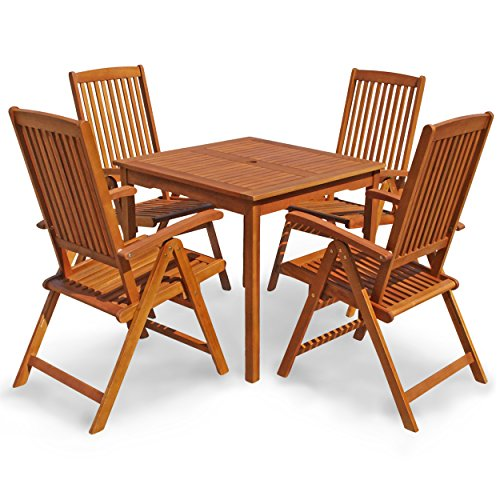 indoba gartenm bel set 5 teilig sun shine gartenset serie braun 85 x 85 x 74 cm ind. Black Bedroom Furniture Sets. Home Design Ideas