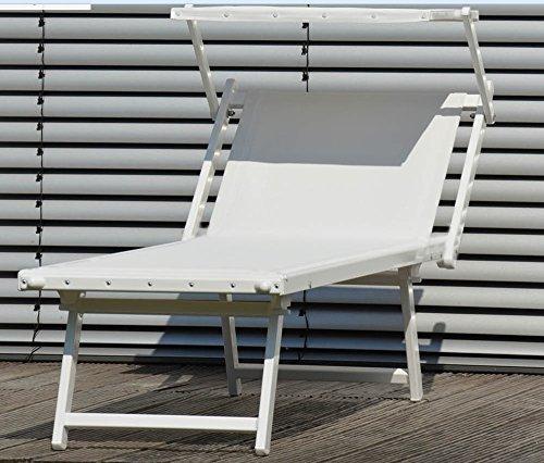 Jan Kurtz Rimini Classic Premium-Qualität Aluminium-Weiss Lackiert Sonnenliege mit Sonnendach UV- bestaendig Capri DE LUXE Sauna Strand Terrasse Garten