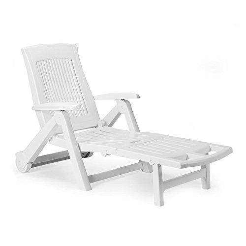 Liege mit hohem Liege- + Sitzkomfort Sonnenliege Gartenliege Relaxliege Saunaliege Kunststoff Weiß 195x72x101cm