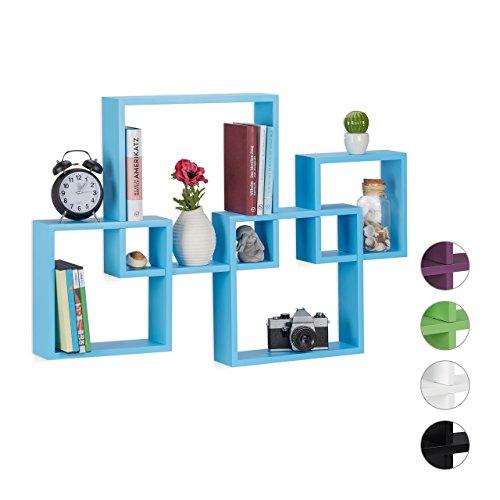Relaxdays Würfelregal 4er Set, Hängeregal Cube, schwebendes Wandboard groß, MDF, HBT: 92x62,5x10cm, verschiedenfarbig