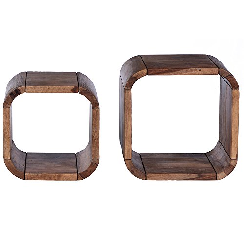 SalesFever Regal Cuben aus Shisham Massivholz im 2er Set Shia quadratisch