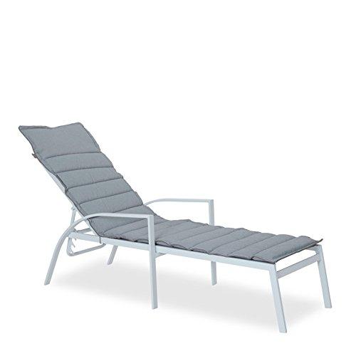 Sonnenliege Metall weiß Batylen grau Gestell Alu 55x200cm Lounger Gartenliege - Siesta