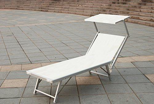 Sonnenliege aus Aluminium und Textilene Gartenstuhl COL. Weiß mit Sonnenblende