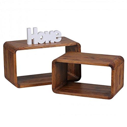 wohnling 2er set satztisch massiv holz sheesham wohnzimmer tisch landhaus stil cubes. Black Bedroom Furniture Sets. Home Design Ideas
