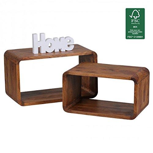 WOHNLING 2er Set Satztisch Massiv-Holz Sheesham Wohnzimmer-Tisch Landhaus-Stil Cubes Beistelltisch Würfel-Regal Natur-Holz Würfeltisch Modern Naturprodukt dunkel-braun Echt-Holz Couchtisch Unikat