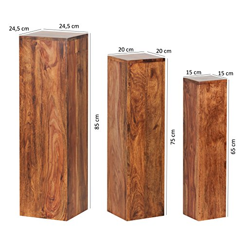 Wohnling Massivholz Beistelltische 3er Set Säule Neu