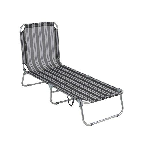 greemotion Gartenliege klappbar Texel - Sonnenliege grau-gestreift - Liegestuhl aus Aluminium & Textilene - Strandliege faltbar für Balkon, Terrasse & Garten - Outdoor-Liege für Strand & Camping