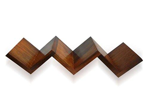 stylla London Zig Zag Form Sheesham Holz handgefertigt, Schwimmende Wandhalterung Buch Regal, Holz, braun, 11x 68x 11cm