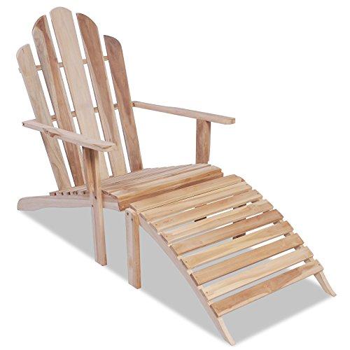 vidaXL Teak Adirondack Chair Deckchair Stuhl Liegestuhl Sonnenliege Gartenmöbel