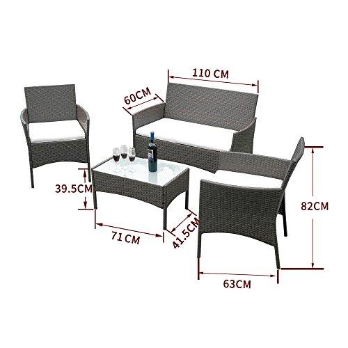 Lanshine Rattan Gartenmobel Set 4 Teilig Stuhle Sofa Tisch Outdoor Terrasse Wintergarten