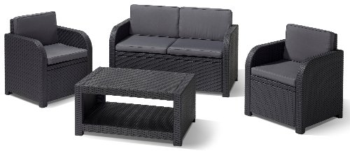 allibert lounge set garten modena 4 teiliges rattanoptik set 199 x 68 x 72 cm balkonm bel. Black Bedroom Furniture Sets. Home Design Ideas
