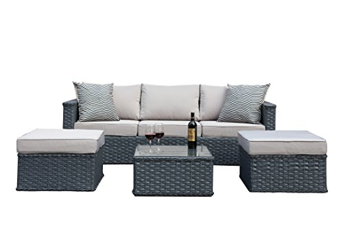 polyrattan gartenm bel 5 sitzer rattan outdoor sitzgruppe lounge set gartenganitur 4tlg grau. Black Bedroom Furniture Sets. Home Design Ideas