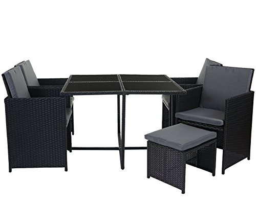 mendler poly rattan garten garnitur kreta lounge set sitzgruppe 4 st hle schwarz kissen grau. Black Bedroom Furniture Sets. Home Design Ideas