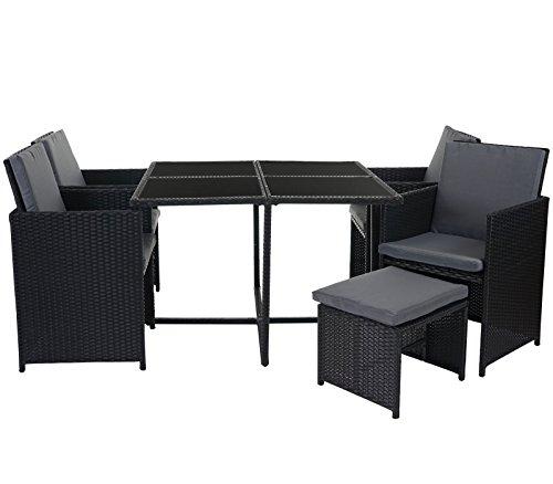 mendler poly rattan garten garnitur kreta lounge set sitzgruppe 4 st hle schwarz kissen grau. Black Bedroom Furniture Sets. Home Design Ideas