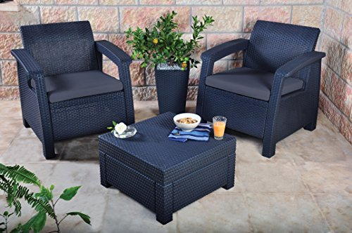 keter lounge set rattan wlf bank 2 sitzer graphit braungraues lounge set in rattanoptik. Black Bedroom Furniture Sets. Home Design Ideas