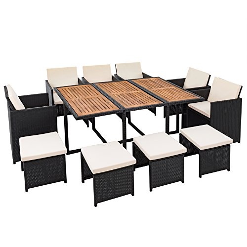 polyrattan sitzgruppe f r 10 personen farbe schwarz garten lounge aus rattan gartenm bel set. Black Bedroom Furniture Sets. Home Design Ideas