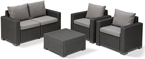 allibert lounge sofa balkon california 141 x 68 x 72 cm lounge sofa rattan graphit panama. Black Bedroom Furniture Sets. Home Design Ideas
