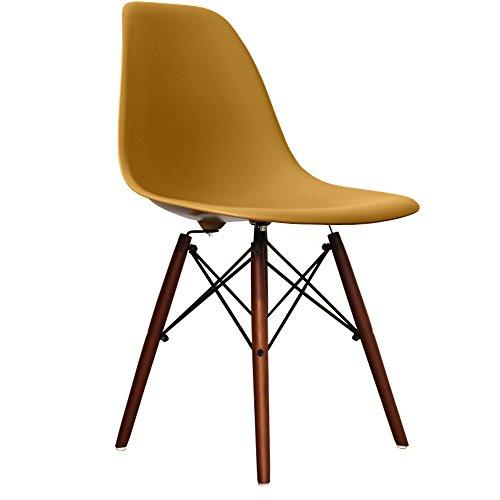 retro stuhl kunststoff mit holzbeinen skandinavischer stil beine aus walnussholz gold h. Black Bedroom Furniture Sets. Home Design Ideas