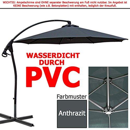 habeig luxus ampelschirm 3m anthrazit wasserdicht durch pvc schirm 300cm sonnenschirm. Black Bedroom Furniture Sets. Home Design Ideas