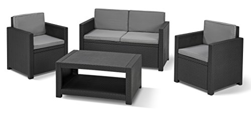 allibert lounge set garten monaco 4 teiliges balkon robustes set in rattanoptik grau. Black Bedroom Furniture Sets. Home Design Ideas