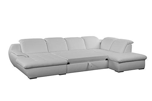 cavadore leder wohnlandschaft claanc in kunstleder mit gro em longchair und bettfunktion. Black Bedroom Furniture Sets. Home Design Ideas