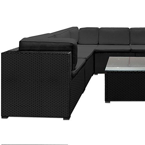 deuba poly rattan xxl lounge set schwarz 15cm dicke r ckenkissen 7cm dicke sitzauflagen. Black Bedroom Furniture Sets. Home Design Ideas