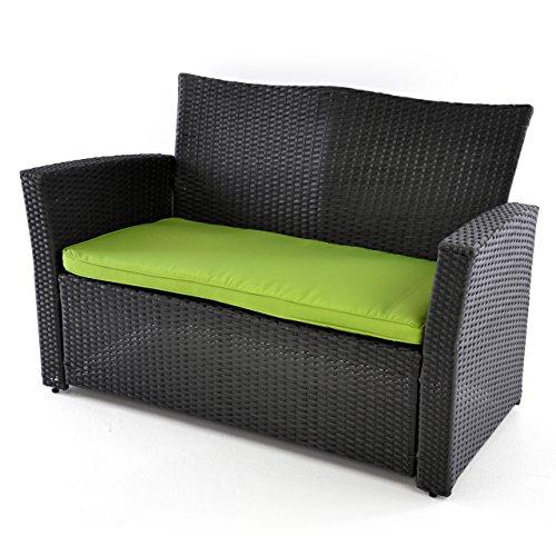 rattan set 4tlg mit glastisch gr n garnitur gartenm bel sitzgruppe poly rattan inkl. Black Bedroom Furniture Sets. Home Design Ideas