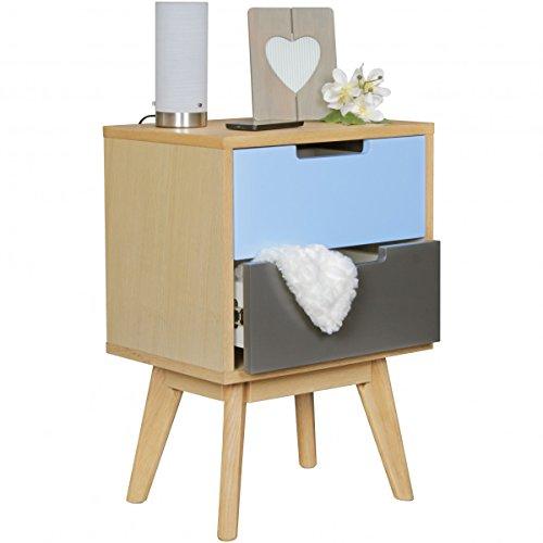 FineBuy Retro Nachtkonsole SCANIO Holz Nachttisch mit Schubladen mehrfarbig  | Design Nachtkästchen skandinavisch...