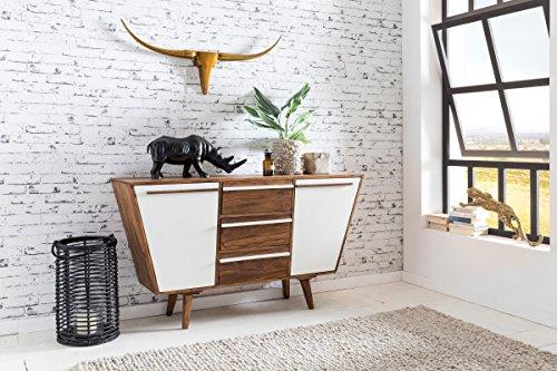Sideboard AGRA 140 x 80 x 42 cm Massiv-Holz Sheesham Natur Anrichte | Landhaus-Stil Highboard mit Schubladen & Türen | Flur Schrank Kommode