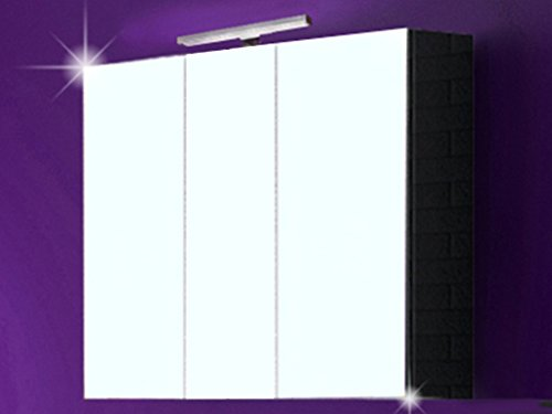 """Spiegelschrank """"MILANO"""" Badspiegel Badschrank Badezimmermöbel Badmöbel Spiegel Schrank mit LED 120 cm Schwarz Hochglanz"""