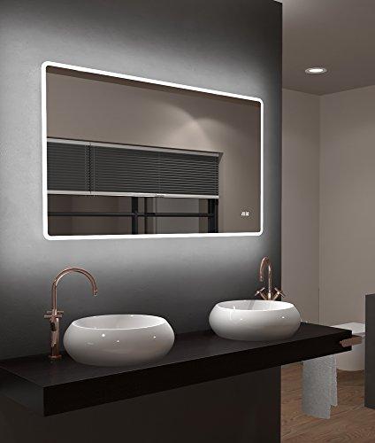 LED-Spiegel Talos Sun– Warmweiß beleuchteter Spiegel für das Badezimmer -  120 x 70 cm großer Wandspiegel – Glas-Beleuchtung für angenehmes Licht im Bad – Digitaluhr -Modernes Design und hochwertige Beschichtung