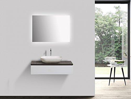 Badmöbel Vision 800 Weiß matt - Ohne Waschbecken, Ohne zusätzl. Blende, Mit Badspiegel 2137