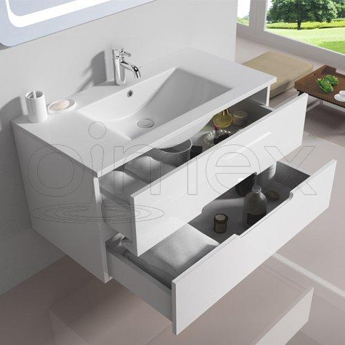 """OimexGmbH Design Badmöbel Set """"Tiana"""" Weiß Hochglanz Waschtisch 90cm inkl.  Armatur LED Spiegel..."""