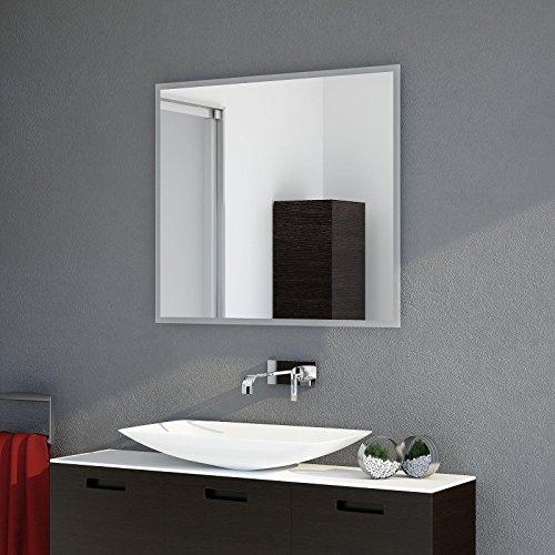 LED Badspiegel Lichtspiegel mit umlaufender LED Beleuchtung und 2cm satiniertem Rand 100 cm Breit x 60 cm Hoch Warmweiß 3.000K